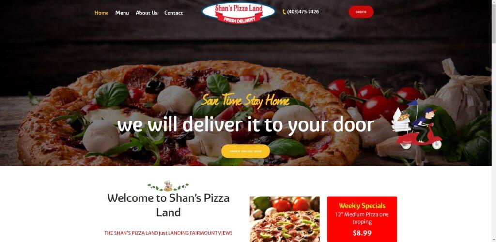 Shan's Pizza Land Website