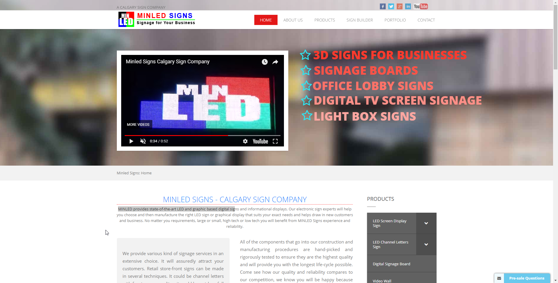 Signs Company Website | Minled Signs | Triiliard Bytes Web design